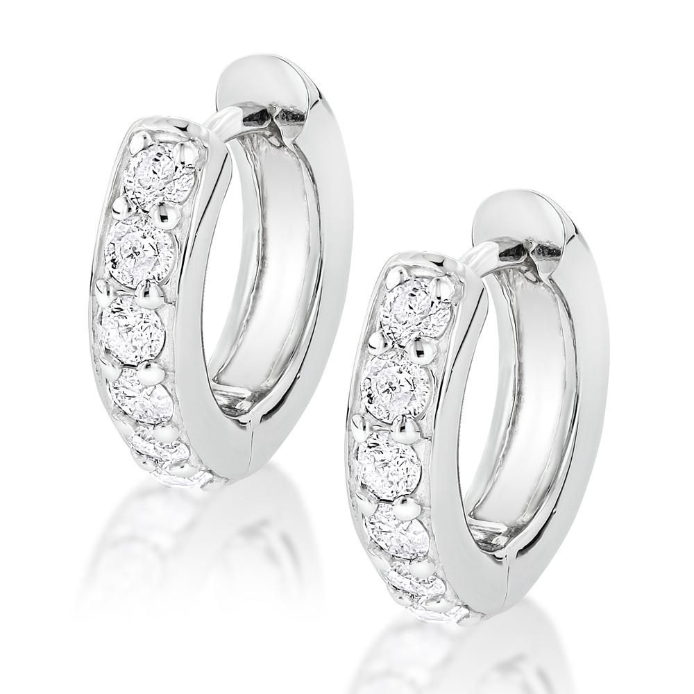 14k Gold Small Diamond Hoop Earrings Huggies 1 2ct