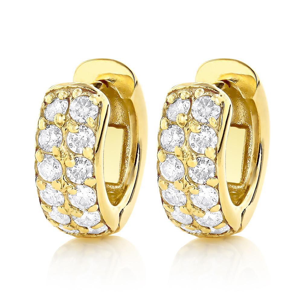 diamond hoop earrings 14k gold 1 carat diamond huggie earrings. Black Bedroom Furniture Sets. Home Design Ideas