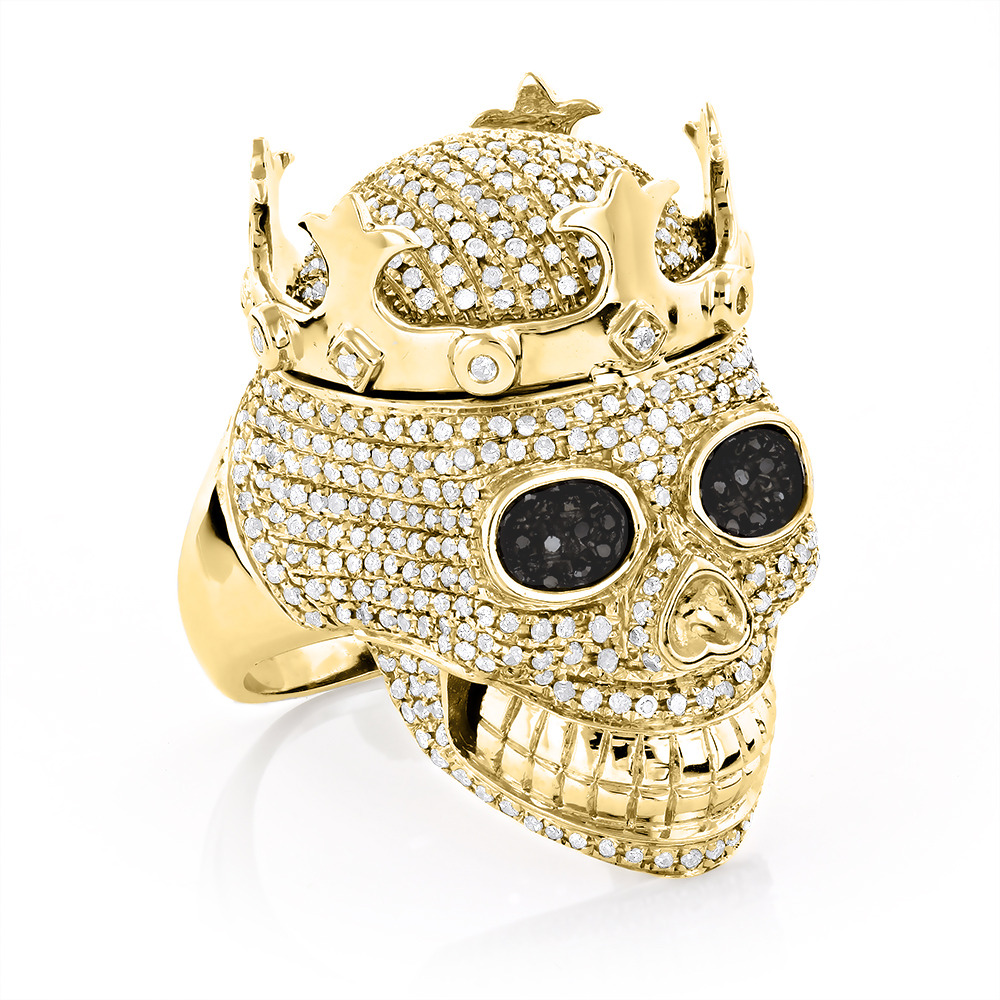 real hip hop jewelry mens diamond skull ring 10k gold. Black Bedroom Furniture Sets. Home Design Ideas
