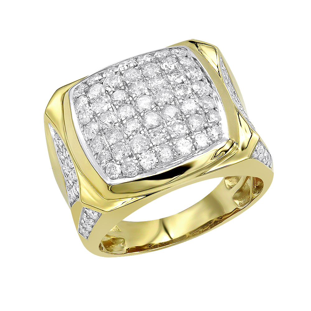 Luxurman statement jewelry 10k gold mens diamond ring 3 for 10k gold jewelry
