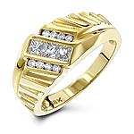 18K Gold Men's Round & Princess Diamonds Ring 0.63ct