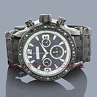 Hip Hop Watches Custom Joe Rodeo Mens Black Diamond Watch