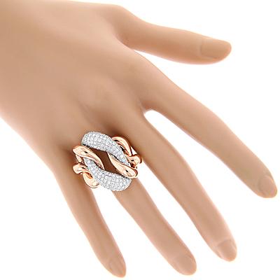 diamond cocktail rings two tone designer diamond ring 5 6ct 18k gold