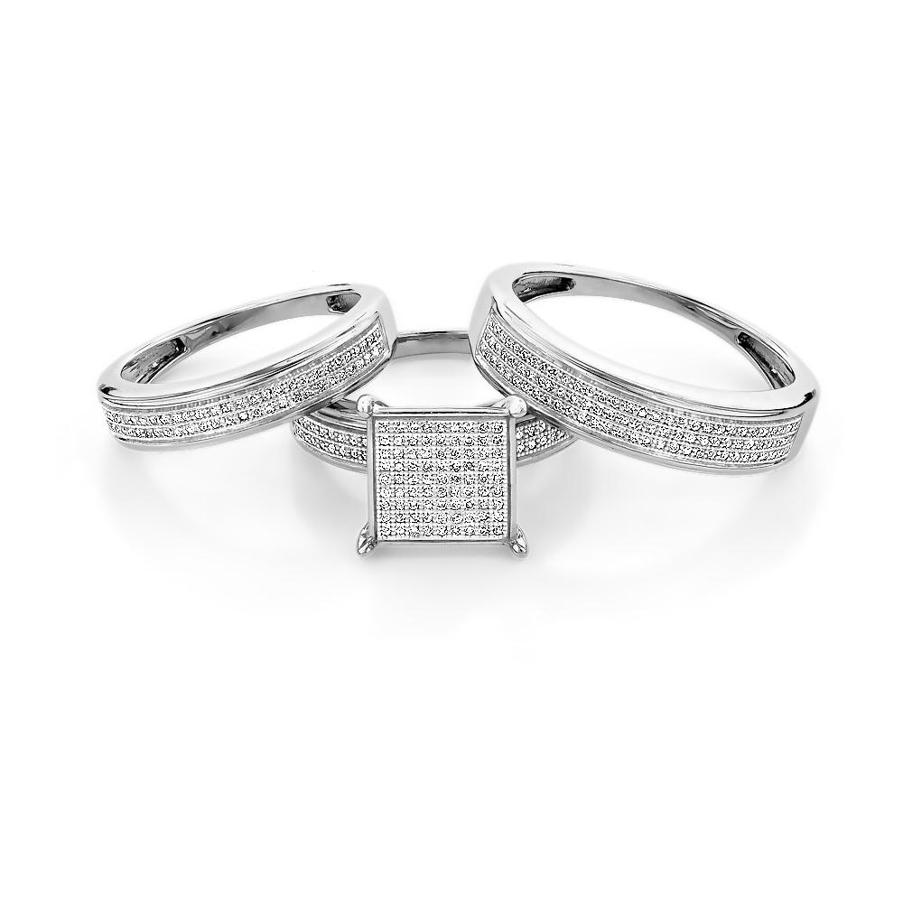 Wedding Ring Sets Sterling Silver: Affordable Bridal Trio Ring Sets: Diamond Engagement Set