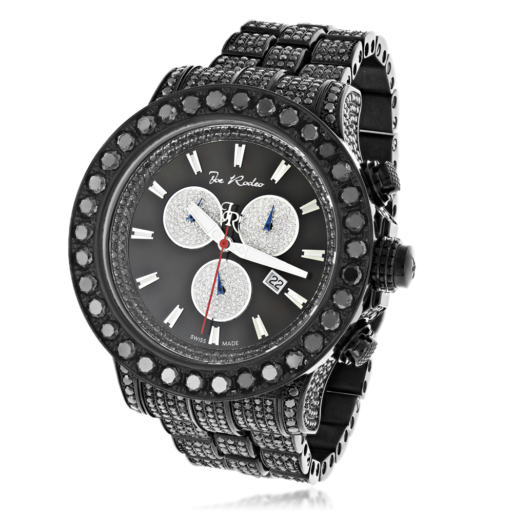 Hip hop watches custom joe rodeo mens black diamond watch for Rapper watches