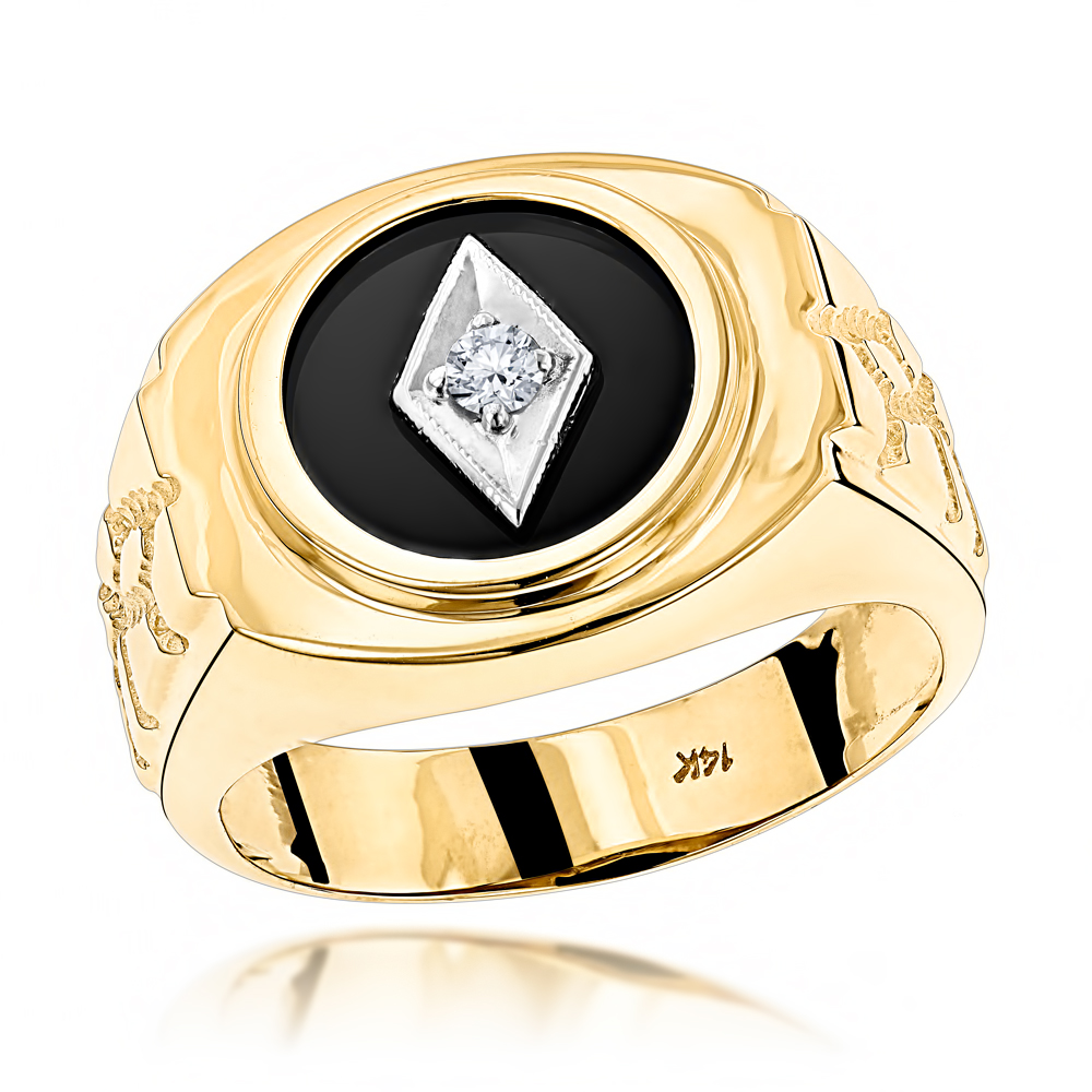 Black Onyx And Diamond Rings 14K Gold Mens Ring 010ct Item Code 101137