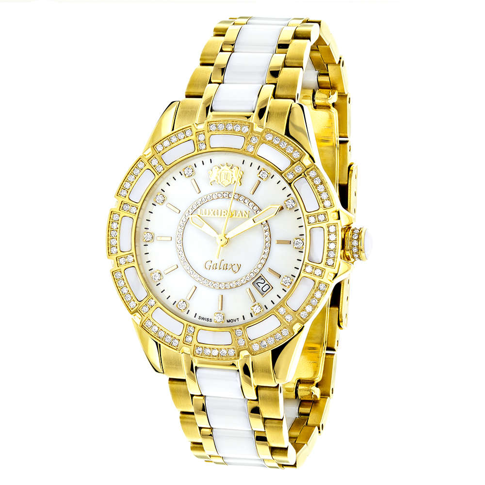 Luxurman ladies diamond ceramic watch white mop for Diamond watches