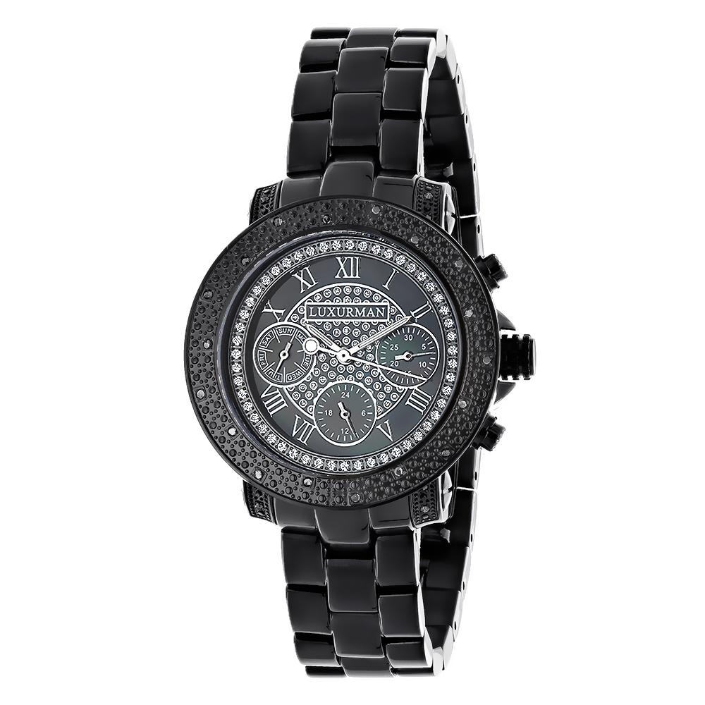 mens ladies diamond watches luxurman black diamond watch