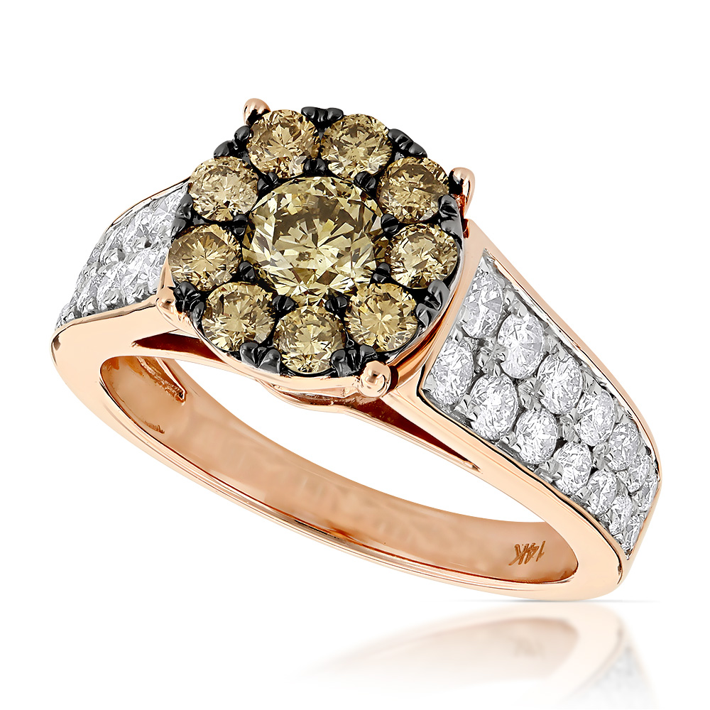 Unique Engagement Rings: 14K Gold Cluster Diamond Ring for ...