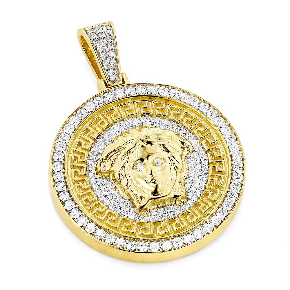 Unique Versace Style Diamond Pendant Medusa Head Medallion